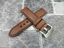 22mm NEW COW LEATHER STRAP Brown Watch Band Black Stitch PAM 22 mm