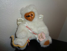 1990 ROBERT RAIKES PLUSH WHITE WOOD FACE CUPID ANGEL BEAR by APPLAUSE!
