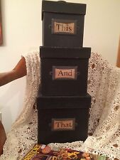 PRIMITIVE DISTRESSED BLACK SET OF 3 BOXES THIS AND THAT STORAGE NESTING DECOR