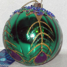 "St Nicholas Sq 3.5"" Ornament Xmas Green Glitter Sequin Bead Glass Stone Peacock"