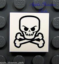 NEW Lego Pirate SKULL & CROSSBONES White Skeleton Bone Printed 2x2 Minifig TILE