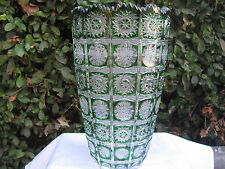 "VINTAGE BOHEMIA QUEEN LACE EMERALD GREEN 24% LEAD CRYSTAL VASE 10"" NIB"