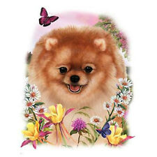 POMERANIAN DOG with Flowers onOne  Fabric Panel to Sew. SALE!