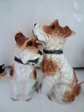 RARE PAIRE DE VEILLEUSES 1930 CHIENS DOGS porcelaine allemangne