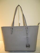 MICHAEL KORS SAFFIANO JS TRAVEL Pearl Grey TOP ZIP TOTE BAG $278 (torn strap)