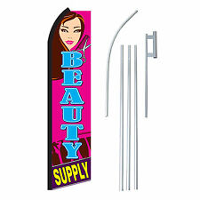 BEAUTY SUPPLY 15' COMPLETE SWOOPER FLAG STARTER KIT Bow Feather Flutter