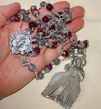 Heavy DIVINE MERCY capped Blood Opal Unbreakable Bali Sterling Rosary LG 713