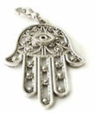 LOVELY LARGE SILVER PATTERNED HAND OF FATIMA WITH EYE CLIP ON CHARM  - S/ALLOY