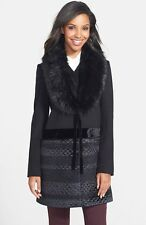 ~VERA WANG~ BEAUTIFUL BNWT! LADIES BLACK COAT W/DETACHABLE FUR COLLAR SIZE XL