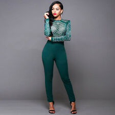 Vogue Women Perspective Bodysuits Long Sleeve Tight Jumpsuit Pants Lady Clothing