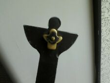 Abstract Handmade Wrought Iron Brass Guardian Angel Cross By Jan Barboglio