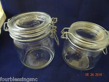 ARC & TRIOMPHE-MADE IN FRANCE 1/2 & 3/4 L CLEAR GLASS CANISTER/JAR W. WIRE BALE