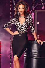 Abito aperto aderente nudo stampato scollo Midi print Leopard dress clubwear M