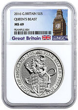 2016 G. Britain 5 Pnd 2 Oz Silver Queen's Beast Lion NGC MS69 (Britain) SKU41714