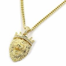 "Men's 14k Gold Plated Iced Crowned King Lion Pendant with  4mm 30"" Cuban Chain"