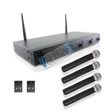 New Pyle PDWM4520 Wireless Microphone System, UHF Quad Channel, 4 Handheld Mic.