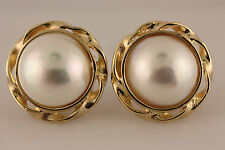 14K SOLID YELLOW GOLD 11MM MABE PEARL EARRINDS