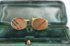 Vintage yellow metal cufflinks with art deco design #609