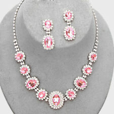 Bridal Wedding Prom SILVER & PINK Rhinestone Costume Necklace/Earring Set