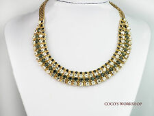 Calidad De Moda Oro Brillante Cristal Stud Collar de Declaración Collar Para Mujer Fiesta