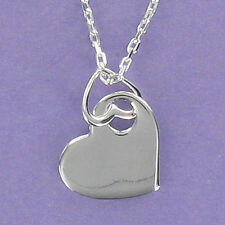 Heart Pendant on Heart-Shaped Ring Adjustable Chain Sterling Silver Engravable