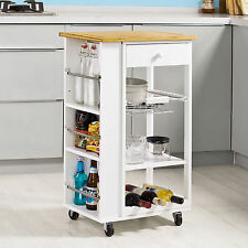 SoBuy® Kitchen Trolley Cart with 3 Side Shelves Removable Basket, FKW12-WN, UK