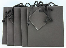 Lot 5 Gift Bags Dark Brown Laminated Paper Shopping 10x8X4.5 Euro Style New
