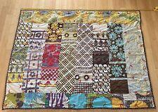 Vintage Hippie Patchwork Quilt Handmade Cutter Blanket Block Tie Textile Design