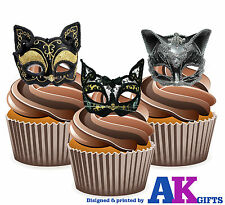 Masquerade Ball Party Vintage Cat Eye Mask 12 Edible Stand Up Cup Cake Toppers