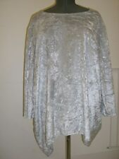 3/4 length sleeved long tunic top light silver grey crushed velvet plus size 22=