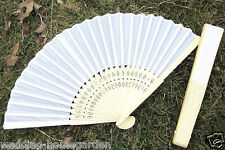 1 pc Elegant Lady's White Silk Folding Hand Held Fans For Wedding Party pe263