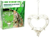 BEAUTIFUL HANGING METAL HEART SHAPED TEA LIGHT HOLDER HOME OR GARDEN BOXED NEW