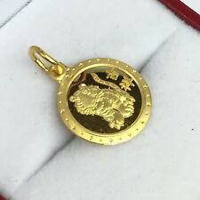 24K Solid Yellow Gold Cute Animal Sign Round Tiger Charm/ Pendant. 1.90 Grams