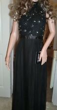 BNWT Ladies Sherri Hill Black Floor Length Jewel & Lace Floaty Dress - Size 10