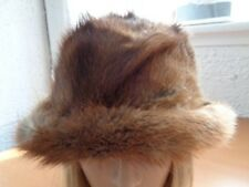 EXCELLENT NATURAL CANADIAN MUSKRAT FUR HAT CAP WOMEN WOMAN SIZE ALL