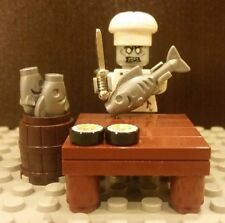 Lego NEW ZOMBIE Sushi Chef Minifig w/Table Fish Chrome Kitchen Knife & MORE!!!