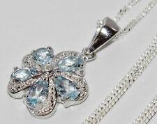 ARGENTO STERLING (925) Aqua Blu Topazio & Diamante Cluster Ciondolo Collana & Catena