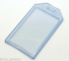 5PCS Blue Vertical Plastic ID Card Badge Waterproof Holder Cover