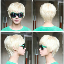 Stylish Mens Short Handsome Straight Cosplay Party Hair Full Wig Platinum Blonde