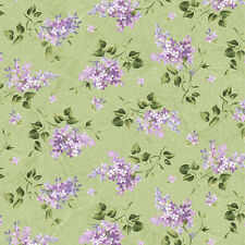 Lilac Spray  Floral Green 1MG Fresh Lilacs Quilt  Fabric by the 1/2 yd