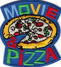 """""""MOVIE & PIZZA - Iron On Embroidered Patch/Food, Entertainment, Show, Movies"""