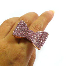 Lovely Adorable Ribbon Bow Rhinestone Elastic Band Ring - Gold Pink