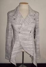 JESSICA SIMPSON MS SIZE SMALL GRAY MARLED FRONT SNAP COLLARED LONG SLEEVE JACKET