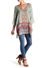 NWT Johnny Was Tappa Mixed-Print Blouse Top Long Tunic XXL 1X Teal Pink