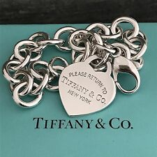 Please Return to Tiffany & Co Silver Heart Tag Charm Bracelet Mother's Day Gift