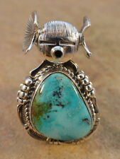 Bennie Ration Navajo Sterling Silver & Turquoise Corn Maiden Ring sz 7