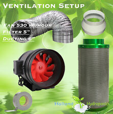 "Hydroponics Grow Lights Ventilation Kit 2 Speed 6"" Silent Fan 5"" Carbon Filter"