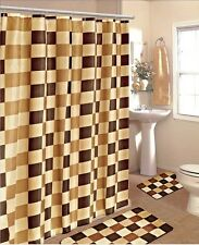 4PC CHECKERS BROWN GOLD BATHROOM SET BATH MATS SHOWER CURTAIN  CHROME HOOKS #2