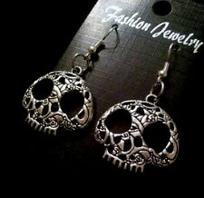 Day Of The Dead Sugar Skull Earrings Retro Rockabilly silver Mexican Candy *UK
