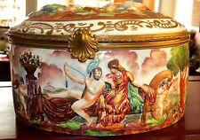 grande bonbonnière XIXème porcelaine et bronze Capodimonte Hercule & Omphale